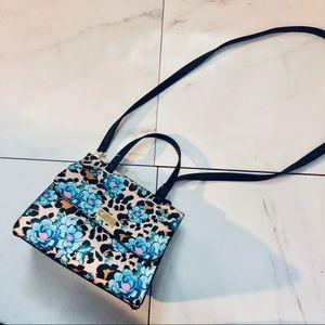 NWOT Betsy Johnson leopard Flower Print handbag
